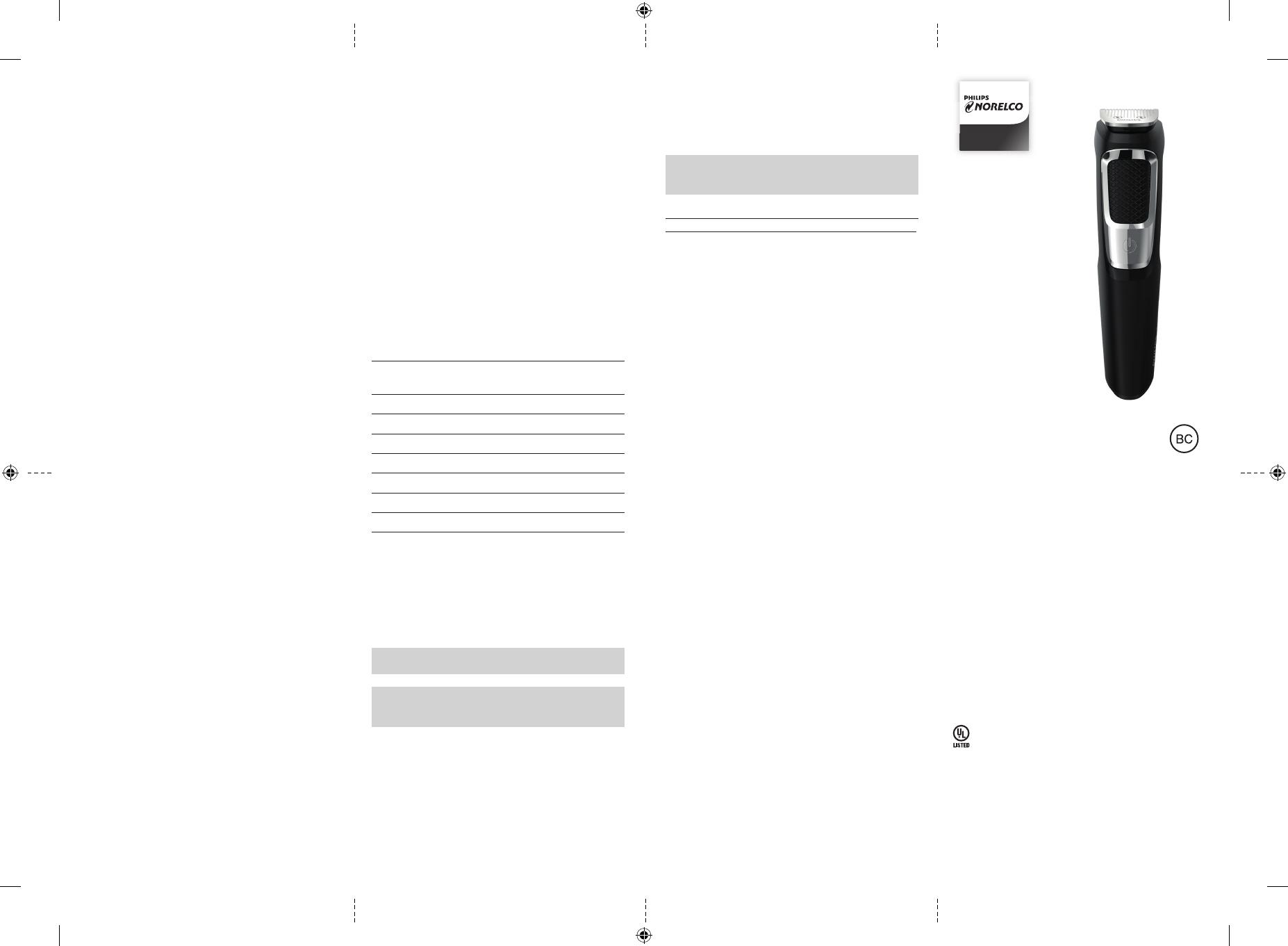 Инструкция Philips Norelco BT5215 (2 страницы)